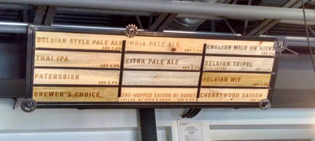 craft beer list wood display