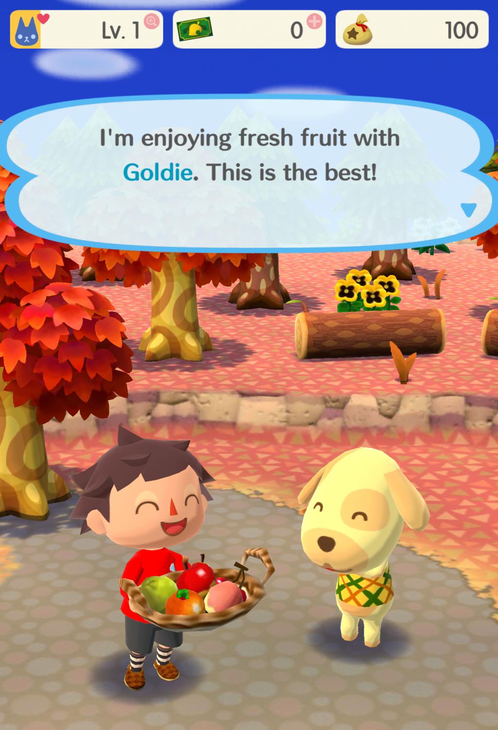 Animal Crossing pocket camp game fun with fruit goldie
